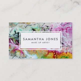 Bright Brush Strokes Modern Make Up Artist Business Card