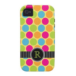 Bright Bubblegum Candy Polkadots Monogram iPhone 4/4S Cover