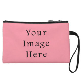 Bright Bubblegum Pink Color Trend Blank Template Wristlet