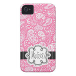 Bright Bubblegum PINK Paisley Pattern Girly Name iPhone 4 Case