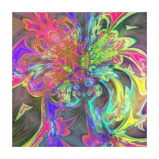 Bright Burst of Color – Salmon & Indigo Deva Canvas Print