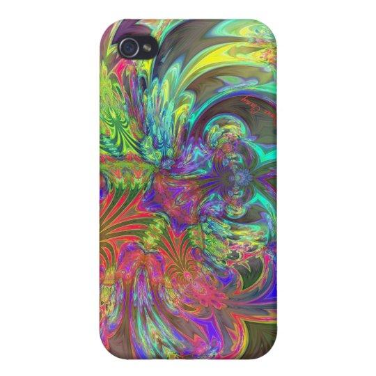 Bright Burst of Color – Salmon & Indigo Deva Case For iPhone 4