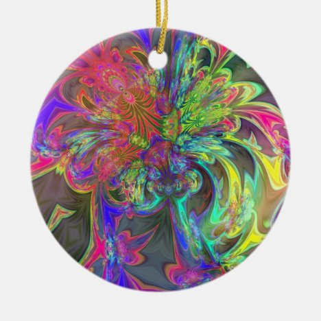 Bright Burst of Color – Salmon & Indigo Deva Ceramic Ornament