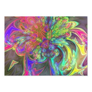 "Bright Burst of Color – Salmon & Indigo Deva 5"" X 7"" Invitation Card"