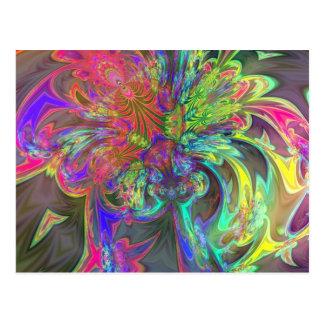 Bright Burst of Color – Salmon & Indigo Deva Postcard