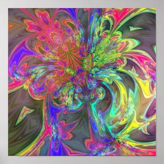 Bright Burst of Color – Salmon Indigo Deva Posters