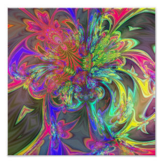 Bright Burst of Color – Salmon Indigo Deva Poster