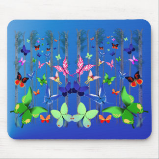 Bright Butterflies and Forest  Mousepad