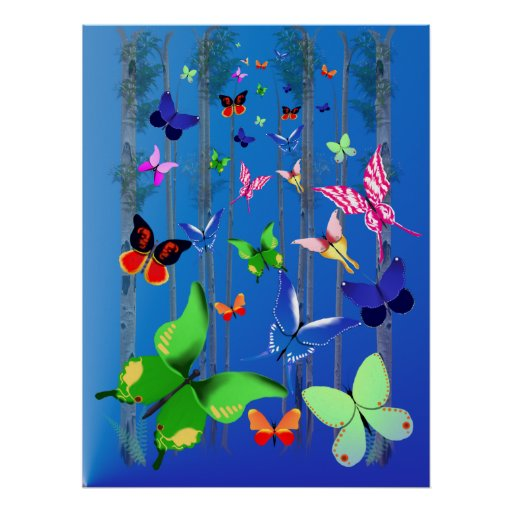 Bright Butterflies and Forest  Poster