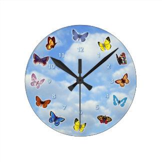 Bright Butterflies Round Clock