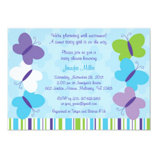 "Bright Butterfly Baby Shower Invitation 5"" X 7"" Invitation Card"