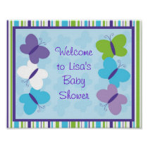 Bright Butterfly Baby Shower Welcome Sign Poster
