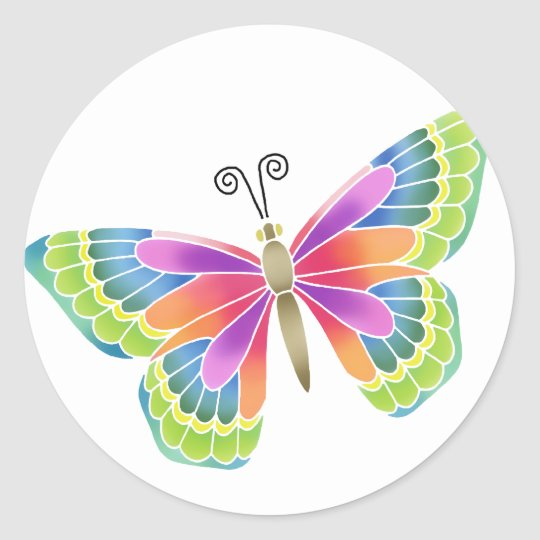 Bright Butterfly Classic Round Sticker