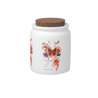 Bright butterfly collection with splashes candy jars