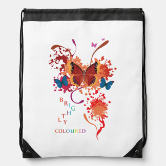 Bright butterfly collection with splashes drawstring backpack