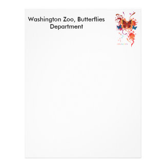 Bright butterfly collection with splashes letterhead
