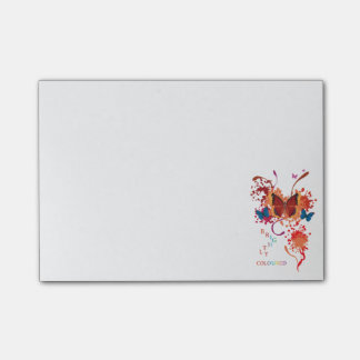 Bright butterfly collection with splashes post-it® notes