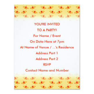 Bright Butterfly Pattern in Yellow and Red. 4.25x5.5 Paper Invitation Card