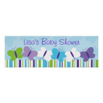 Bright Butterfly Personalized Banner Sign Poster