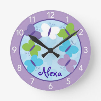Bright Butterfly Personalized Nursery Wall Clock
