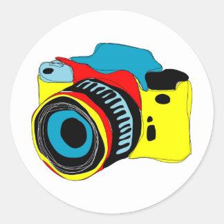 Bright camera illustration classic round sticker