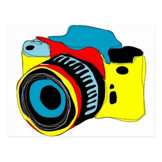 Bright camera illustration postcard