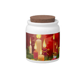 Bright Candles and Snowman Candy Dish