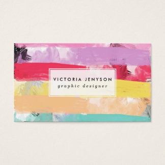 Bright Candy Pastel Watercolor Abstract Stripes Business Card