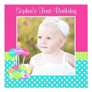 Bright Candy Polka Dot Girl 1st Birthday Photo Personalized Invitation