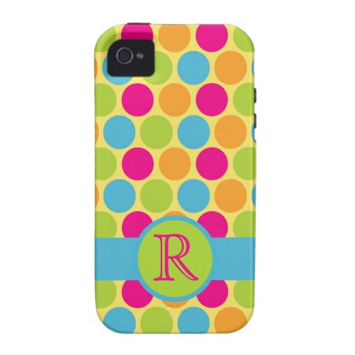 Bright Candy Polkadots Personalized iPhone 4/4S Case
