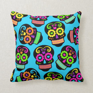 Bright Candy Skulls Pillow Cushion