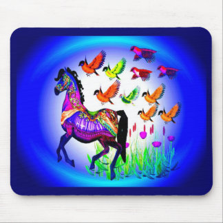 Bright Carousel Horse Mouse Pad
