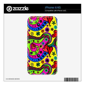 """Bright Cartoon Pattern"" Decals For iPhone 4S"