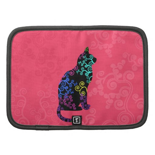 Bright Cat Animal Abstract Groovy neon Pink Swirls Folio Planners