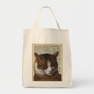Bright Cat look over a fence Tote Bag