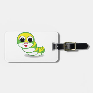 bright caterpillar worm luggage tag