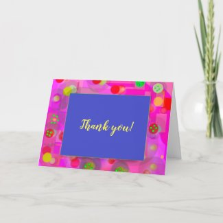 Bright Celebration Design Blue W/Abstract Circles Thank You Card