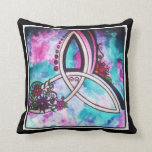 Bright Celtic floral triquetra Throw Pillow