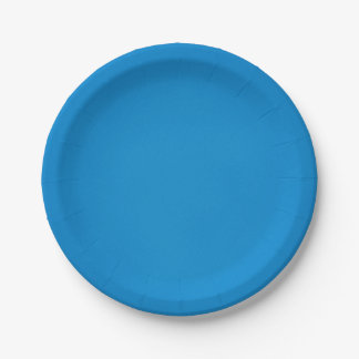Bright Cerulean Blue with Grainy Texture 7 Inch Paper Plate