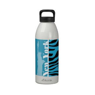 Bright Cerulean Zebra Animal Print; New York Reusable Water Bottle