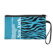 Bright Cerulean Zebra Animal Print; New York Wristlet