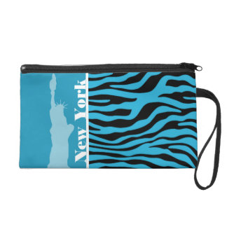 Bright Cerulean Zebra Animal Print; New York Wristlet Purse