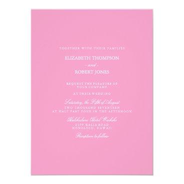Beach Themed Bright Chalky Pastel Magenta Wedding Invite Set