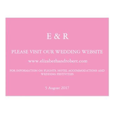 Beach Themed Bright Chalky Pastel Magenta Wedding Invite Set Postcard
