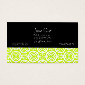 Bright Chartreuse Day Glow Geometric Pattern Business Card