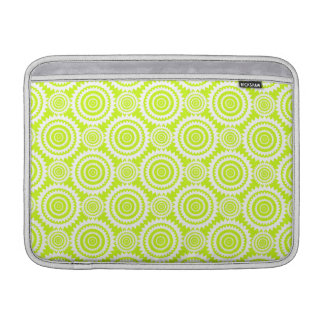 Bright Chartreuse Day Glow Geometric Pattern MacBook Sleeves