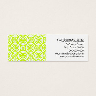 Bright Chartreuse Day Glow Geometric Pattern Mini Business Card