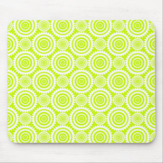 Bright Chartreuse Day Glow Geometric Pattern Mouse Pad