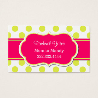 Bright Chartreuse & Pink Mommy Play Date Card