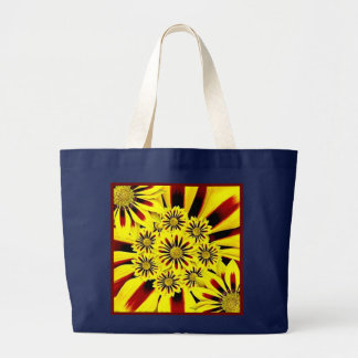 Bright Cheerful Yellow Floral Collage Navy Blue Large Tote Bag